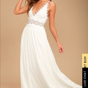 NWT lulus THIS IS LOVE WHITE LACE MAXI DRESS